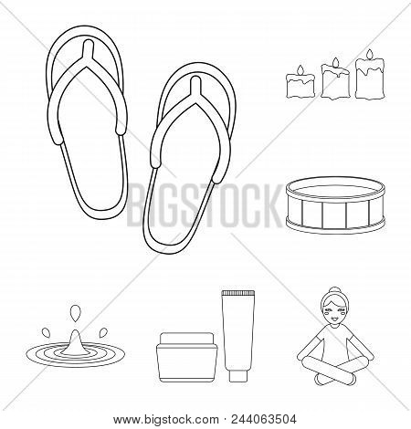 Spa Salon And Equipment Outline Icons In Set Collection For Design. Relaxation And Rest Vector Symbo