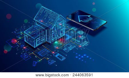 Iot Concept. Smart Home Connection And Control With Devices Through Home Network. Internet Of Things