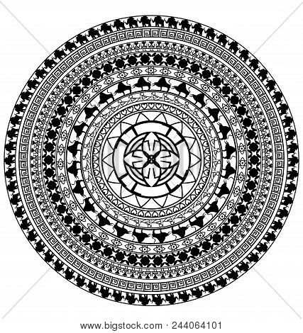 Abstract Black White Colored Image Of Circle Consisting Of Lines And Figures