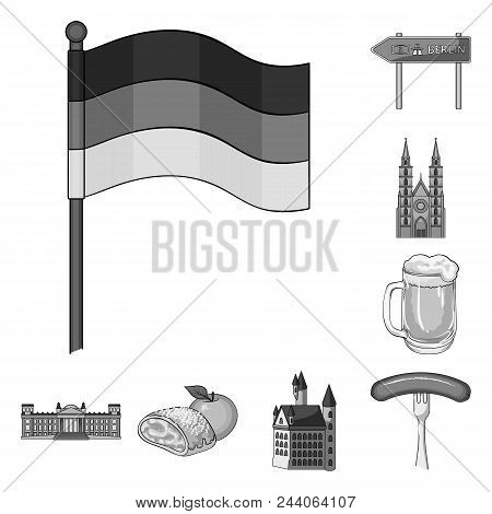 Country Germany Monochrome Icons In Set Collection For Design. Germany And Landmark Vector Symbol St