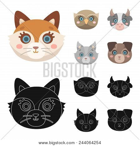 Owl, Cow, Wolf, Dog. Animal Muzzle Set Collection Icons In Cartoon, Black Style Vector Symbol Stock