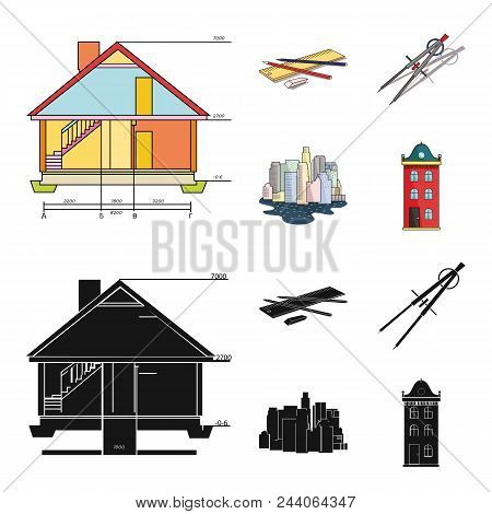 Drawing Accessories, Metropolis, House Model. Architecture Set Collection Icons In Cartoon, Black St