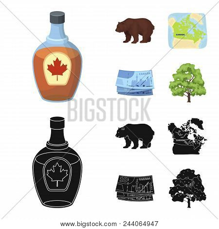 Canadian Dollar, Territory Map And Other Symbols Of The Country.canada Set Collection Icons In Carto