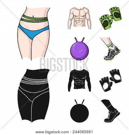 Men Torso, Gymnastic Gloves, Jumping Ball, Sneakers. Fitnes Set Collection Icons In Cartoon, Black S