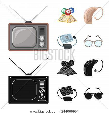 Lottery, Hearing Aid, Tonometer, Glasses.old Age Set Collection Icons In Cartoon, Black Style Vector
