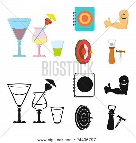 Menu, Armor With Tattoo, Darts, Corkscrew And Opener.pub Set Collection Icons In Cartoon, Black Styl