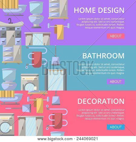 Bathroom Decoration Poster Set In Flat Style. Home Interior Design, Modern Apartment Decoration Bann