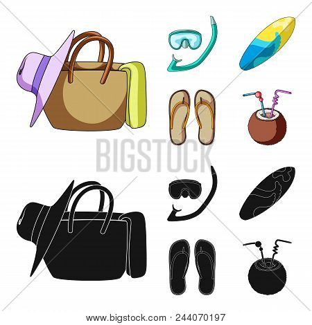 Diving, Surfing, Cocktail.summer Vacation Set Collection Icons In Cartoon, Black Style Vector Symbol
