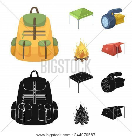 Awning, Fire And Other Tourist Equipment.tent Set Collection Icons In Cartoon, Black Style Vector Sy