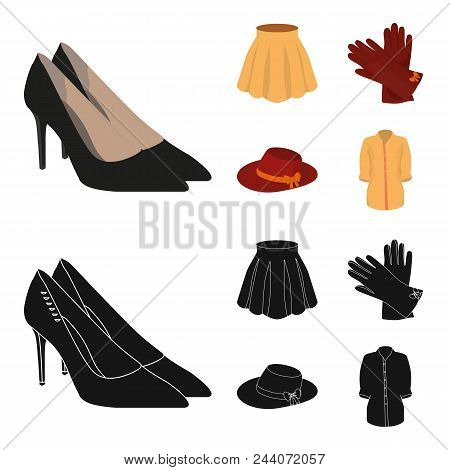 Skirt With Folds, Leather Gloves, Women Hat With A Bow, Shirt On The Fastener. Women Clothing Set Co