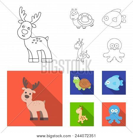 An Unrealistic Outline, Flat Animal Icons In Set Collection For Design. Toy Animals Vector Symbol St
