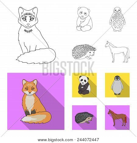 Fox, Panda, Hedgehog, Penguin And Other Animals.animals Set Collection Icons In Outline, Flat Style