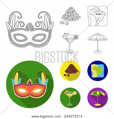 Brazil, Country, Mask, Carnival . Brazil Country Set Collection Icons In Outline, Flat Style Vector