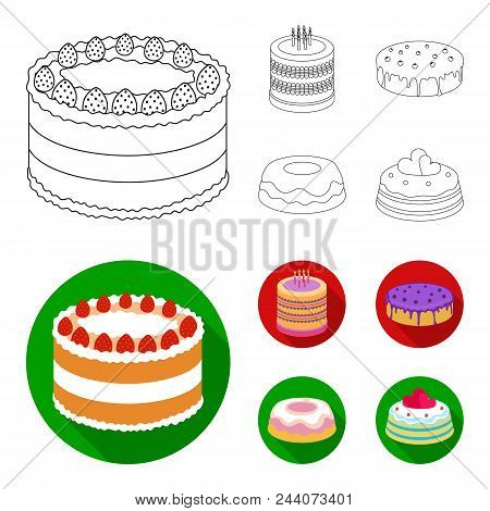 Sweetness, Dessert, Cream, Treacle .cakes Country Set Collection Icons In Outline, Flat Style Vector