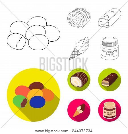 Dragee, Roll, Chocolate Bar, Ice Cream. Chocolate Desserts Set Collection Icons In Outline, Flat Sty