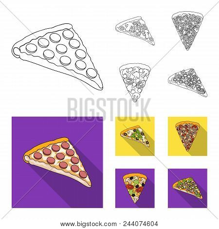 A Slice Of Pizza With Different Ingredients. Different Pizza Set Collection Icons In Outline, Flat S