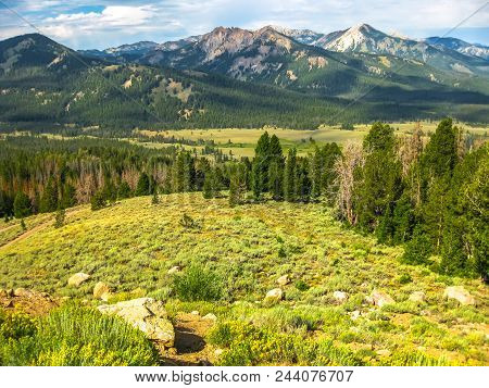 Landscape Of The Sawtooth National Forest In The Southern Sawtooth Valley, In The Heart Of Idaho, Un