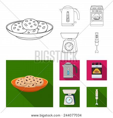 Kitchen Equipment Outline, Flat Icons In Set Collection For Design. Kitchen And Accessories Vector S