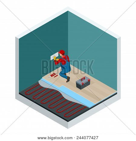 Isometric Layers Of Infrared Floor Heating System Under Laminate Floor Concept. Home Repair Isometri
