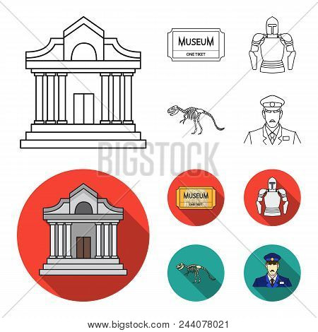 Picture, Sarcophagus Of The Pharaoh, Walkie-talkie, Crown. Museum Set Collection Icons In Outline, F