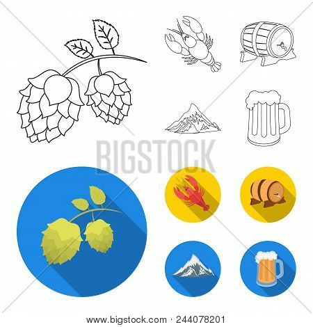 Alps, A Barrel Of Beer, Lobster, Hops. Oktoberfest Set Collection Icons In Outline, Flat Style Vecto