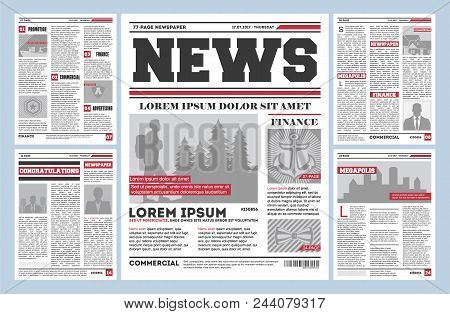 Vintage Newspaper Journal Template. Typography Design With Columns, Daily News Page Layout, Info Pre