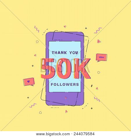 50k Followers Thank You Phrase With Random Items. Template For Social Media Post. Glitch Chromatic A