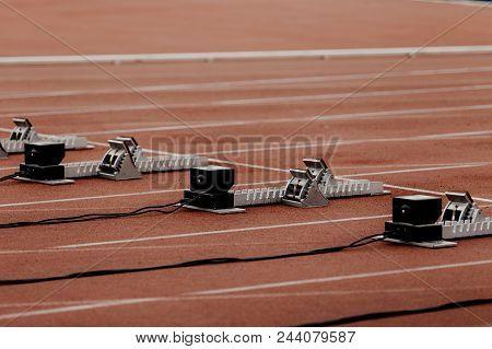 Starting Blocks With False Start System On Line100 Meters Running