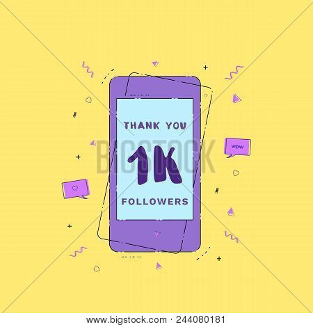 1k Followers Thank You Phrase With Phone. Template For Social Media Post. Glitch Chromatic Aberratio