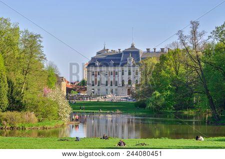 Pszczyna, Poland - April 22, 2018: Beautiful Antique Neo Baroque Castle In Pszczyna, Poland.