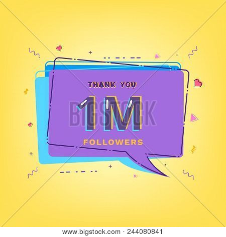 1m Followers Thank You Phrase With Speech Bubble. Template For Social Media Post. Glitch Chromatic A