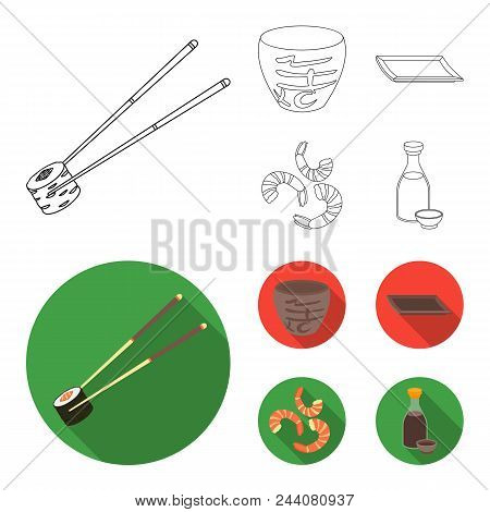 Sticks, Shrimp, Substrate, Bowl.sushi Set Collection Icons In Outline, Flat Style Vector Symbol Stoc