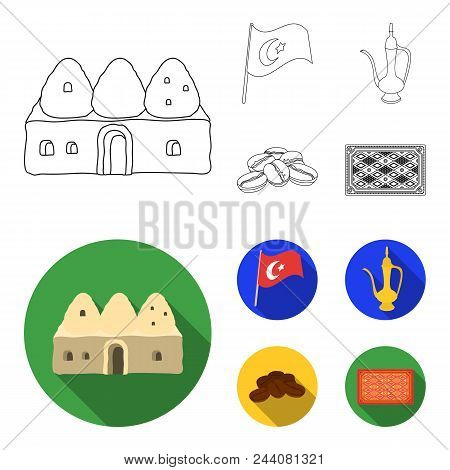 House Hive, National Flag, Coffee Pot Copper, Grains Coffee.turkey Set Collection Icons In Outline,