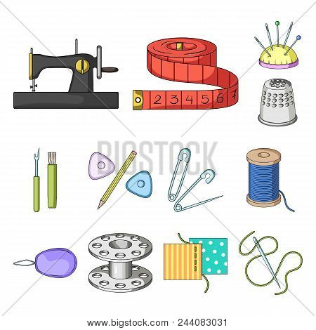 Sewing, Atelier Cartoon Icons In Set Collection For Design. Tool Kit Vector Symbol Stock  Illustrati