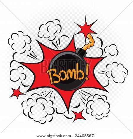 Bomb With Fire Cord Wick. Explode Cartoon Illustration On Transparent White Background. Comic Book E
