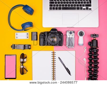 Blogger Ready For Travel And Summer Vacation. Top View. Flat Lay. Dslr And Action Camera, Sunglasses