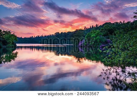 Bolam Lake Country Park In Twilight, Located In The Beautiful Northumberland Countryside, It Is Surr