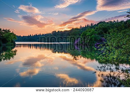 Sunset At Bolam Lake Country Park, Located In The Beautiful Northumberland Countryside, It Is Surrou