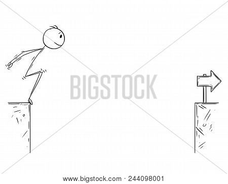 Cartoon Stick Man Drawing Conceptual Illustration Of Businessman Redy To Jump Over The Chasm. Busine