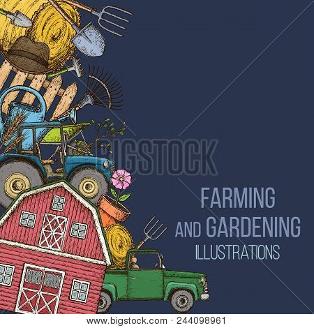 Set Of Farming Equipment Icons. Farming Tools And Agricultural Machines Decoration, Sketch Illustrat
