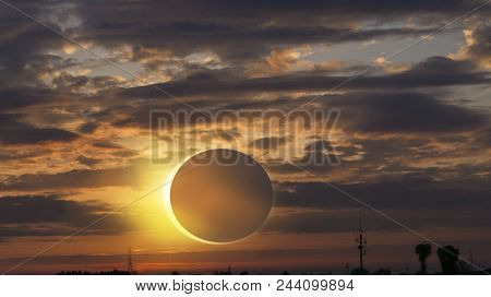 Scientific Natural Phenomenon . Total Solar Eclipse With Diamond Ring Effect Glowing On Sky . Sereni