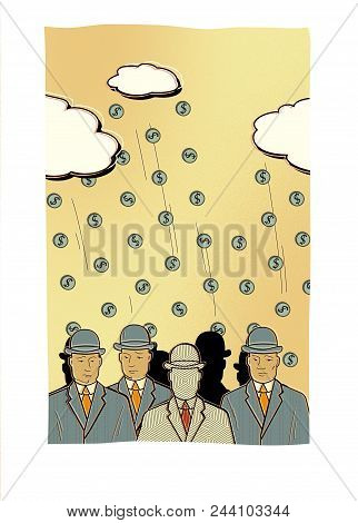 A Crowd Of Men In Business Suits And Hats With Dull Faces Against The Background Of Coins Falling Fr