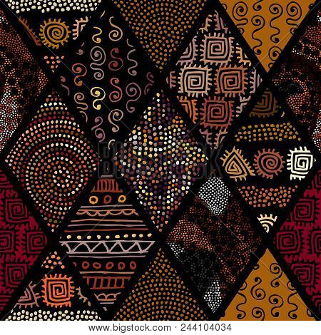 Tribal Boho Seamless Pattern In African Style On Black Background. Tribal Art Print. Patchwork Patte