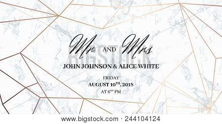 Mr. And Mrs. Signs. Wedding Template Card Of Geometric Design. White Marble Background And Rose Gold