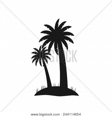 Black Silhouette Of Palm Trees Isolated On White Background. Flat Coconut Palms On Small Piece Of La