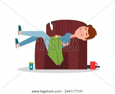 Careless Boy Sleeping In Armchair And Chaotically Scattered Things As Cup Of Coffee, Disabled Glass,