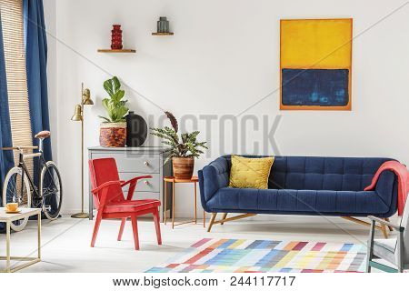 Red Chair And Royal Blue Lounge Placed In Bright Sitting Room Interior With Colorful Carpet, Modern
