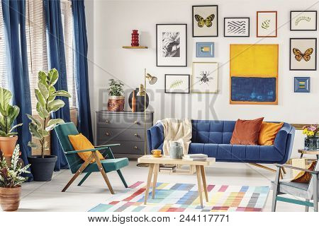 Simple Posters Hanging On The Wall In Bright Living Room Interior With Blue Curtains, Coffee Table P