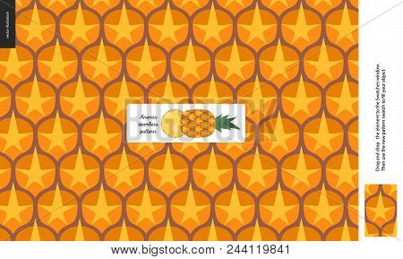 Food Patterns - Fruit, Pineapple Texture - A Seamless Pattern Of Pineapple Rind Peel Full Of Yellow