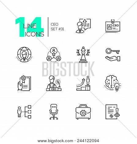 Ceo - Set Of Line Design Style Icons Isolated On White Background. High Quality Minimalistic Black P